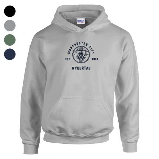 Manchester City FC Vintage Hashtag Hoodie