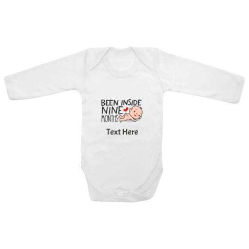 Been Inside Nine Months White Longsleeve Baby Grow
