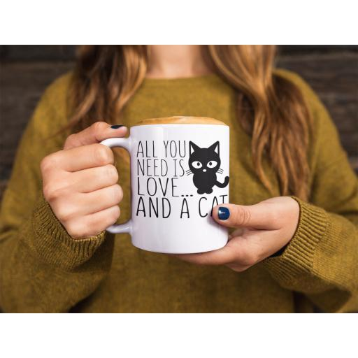 All You Need Is Love And A Cat 11 oz Mug Ceramic Novelty Funny Design Gift