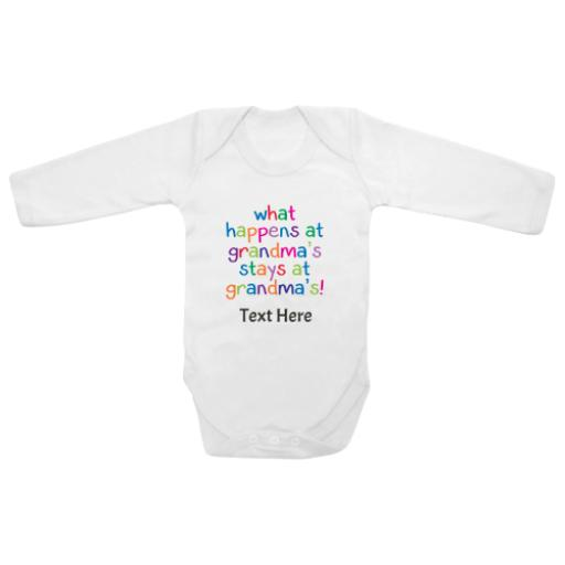 What Happens At Grandmas Stays White Longsleeve Baby Grow