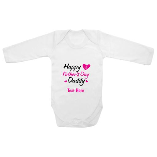 Happy First Fathers Day Daddy Pink White Longsleeve Baby Grow