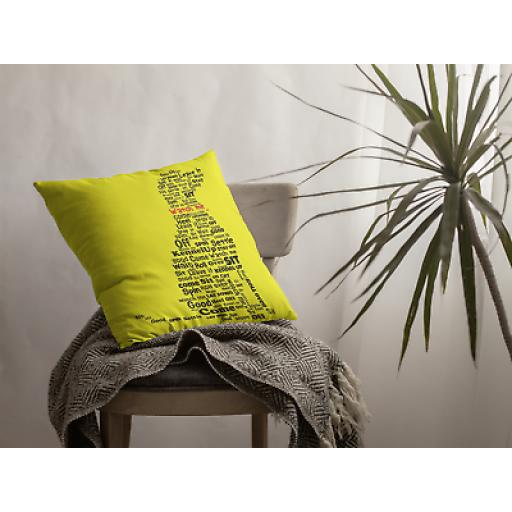 Dog Commands Word Art - Cushion Cover- Decorative Linen - Gift For Dog Lovers