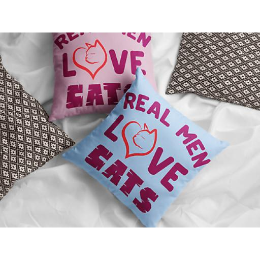 Real Men Love Cats Cushion Cover- Decorative Linen- Inspired Gift For Cat Lovers
