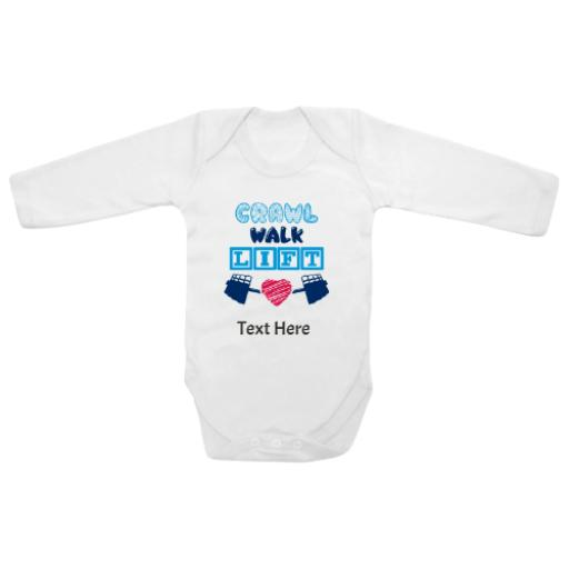 Crawl Walk Lift White Longsleeve Baby Grow